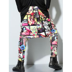 Hip Hop Low Slung Crotch 3D Pattern Harm Pants -