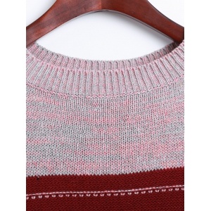 Drop Shoulder Striped Sweater - DEEP RED ONE SIZE