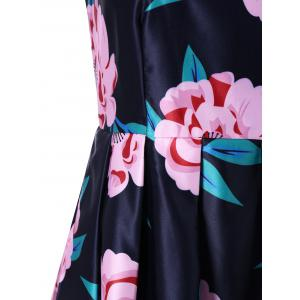 Floral Fit And Flare Midi Dress - DEEP BLUE XL