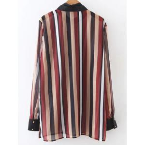 Bow Tie Colorful Striped Blouse -