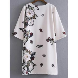 Floral Shift Mini T Shirt Dress - WHITE L