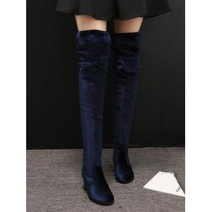 Zip Lace Up Chunky Heel Thigh Boots -