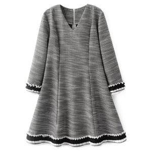 V Neck Long Sleeve Flare Day Dress