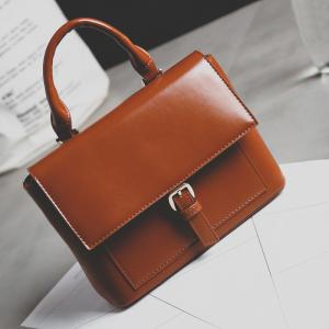 Buckle Square Shape PU Leather Crossbody Bag -