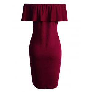 Off The Shoulder Capelet Dress - BURGUNDY S