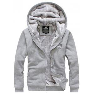 Applique Zip Up Flocking Hoodie and Pants Twinset -