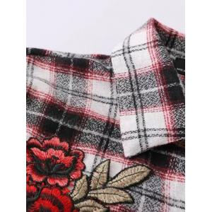 Floral Embroidered Patched Tartan Shirt - CHECKED L