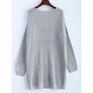 V Neck High Low Oversized Pullover Sweater -