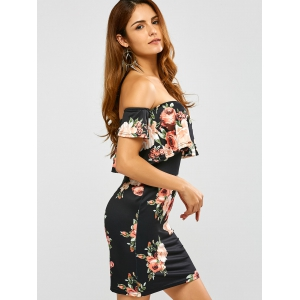 Floral Printed Off The Shoulder Fitted Dress -
