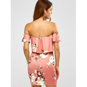 Floral Printed Off The Shoulder Fitted Dress - PINK M