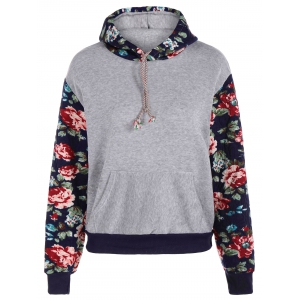 Stylish Long Sleeve Floral Spliced Women's Pullover Hoodie - Light Gray - Xl