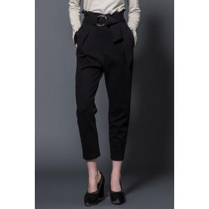 High Waist Ruffle Ninth Pants with Belt