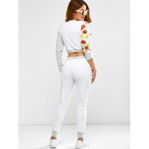 Active Rose Skull Print Crop Top and Running Jogger Pants - WHITE XL