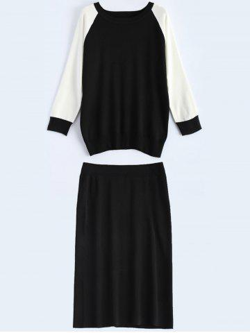 Chic Raglan Sleeve Knitted Back Slit Two Piece Bodycon Dress