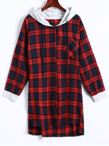 Latest Plaid Button Up Panel Hoodie