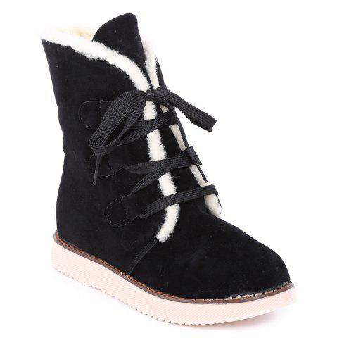 Affordable Suede Lace-Up Snow Boots BLACK 39