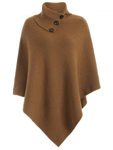 Fancy Knitted Convertible Neck Asymmetric Cape CAMEL ONE SIZE