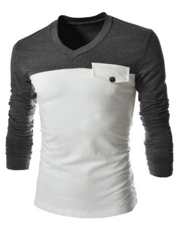 Best Modish V-Neck Two Color Splicing Fake Pocket Slimming Long Sleeve Polyester T-Shirt For Men GRAY M