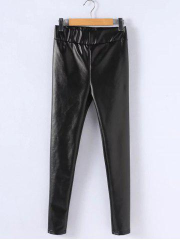 Chic Plus Size PU Leather Thicken Leggings BLACK 5XL