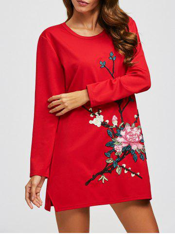 Flower Embroidery Long Sleeve Dress - Red - Xl