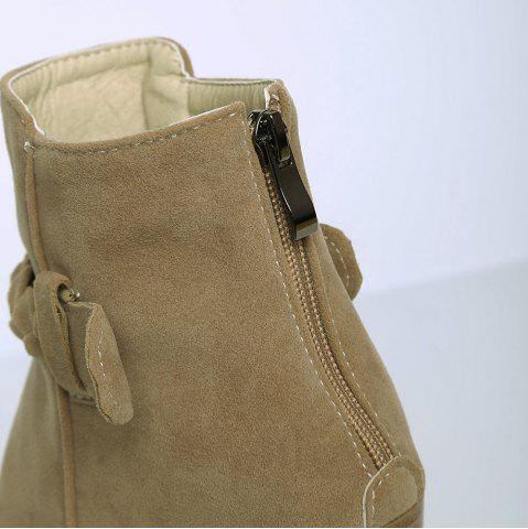 Outfit Zipper Weave Chunky Heel Ankle Boots - 40 CAMEL Mobile