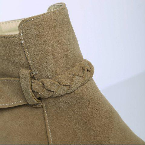 Online Zipper Weave Chunky Heel Ankle Boots - 40 CAMEL Mobile