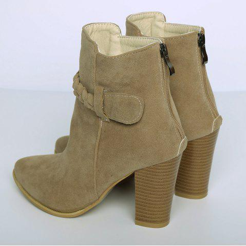 Cheap Zipper Weave Chunky Heel Ankle Boots - 40 CAMEL Mobile