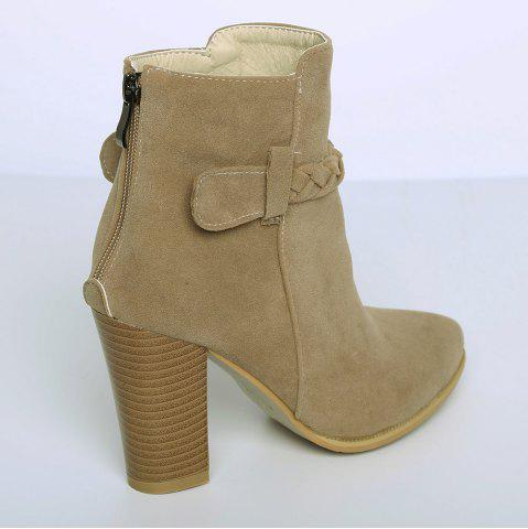 Trendy Zipper Weave Chunky Heel Ankle Boots - 40 CAMEL Mobile
