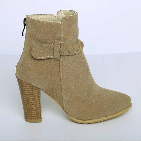 New Zipper Weave Chunky Heel Ankle Boots - 40 CAMEL Mobile