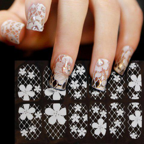 New One Sheet Flower Nail Art Stickers - WHITE  Mobile