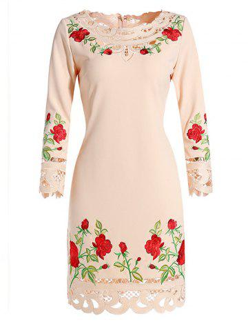 Buy Floral Embroidered Crochet Trim Dress