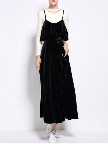 Outfit Flounced Velvet Maxi Camisole Dress