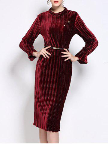 Buy High Neck Velvet Pleated Dress With Brooch