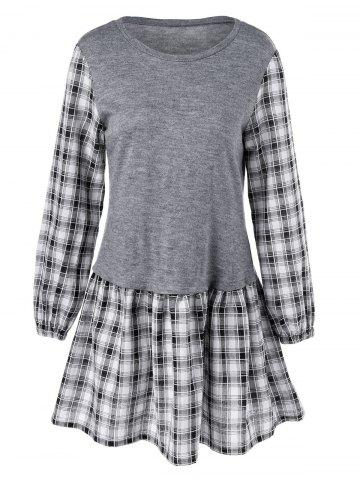Buy Plaid Trim Long Sleeve Dress