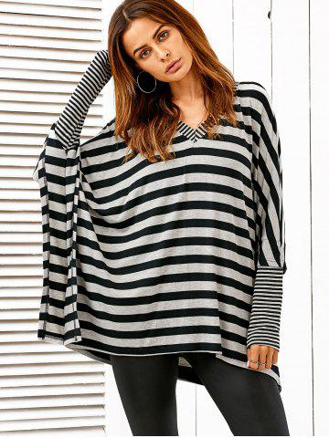 Chic Dolman Sleeve Striped Tee STRIPE L