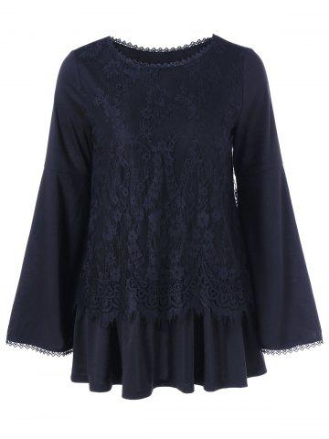 Hot Bell Sleeve Lace Trim Loose Blouse BLACK M