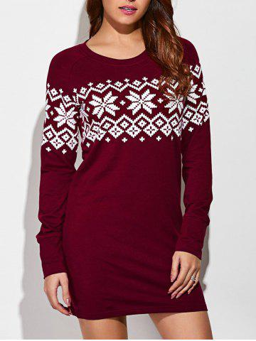 Sale Raglan Sleeve Snowflake Dress RED WITH WHITE XL