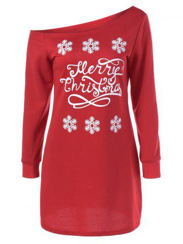 Shop Skew Collar Snowflake Sweatshirt Dress RED WITH WHITE M