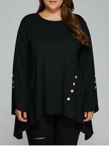 Unique Plus Size Button Decorated Asymmetrical Tee BLACK XL