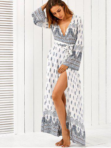 Discount Flare Sleeve Paisley High Slit Maxi Dress