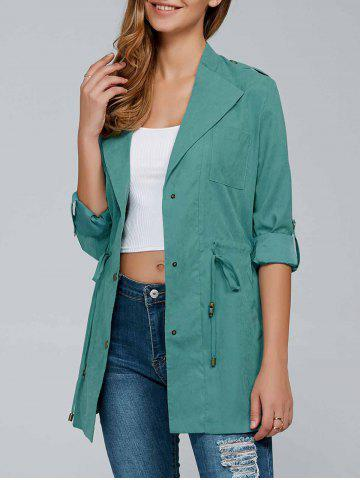 Trendy Drawstring Trench Coat with Epaulets