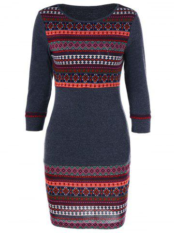 Discount Tribal Trim Slimming Dress