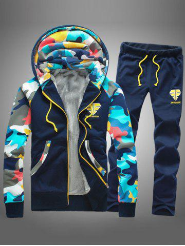 Camouflage Splicing Zip Up Flocking Hoodie and Pants Twinset - Cadetblue - L