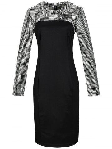 Outfit Houndstooth Long Sleeve Pencil Dress BLACK 3XL