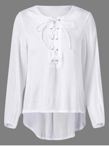Online High Low Lace Up Blouse WHITE XL