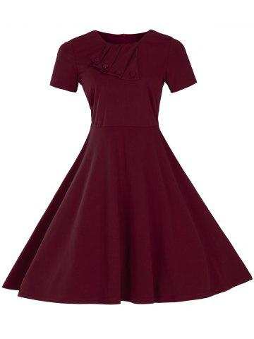 Latest Vintage Short Sleeve Fit and Flare Pin Up Dress BURGUNDY 3XL