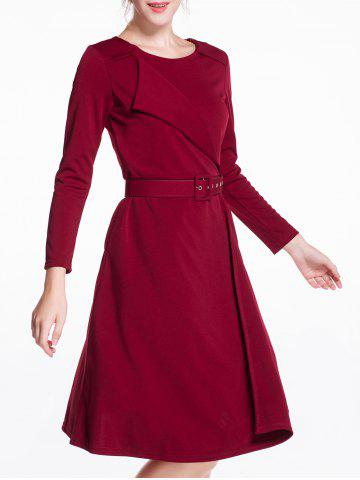 Shops Long Sleeves Knee Length Flare Dress
