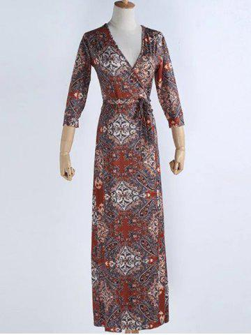 Unique Ethnic Print Maxi Surplice Dress