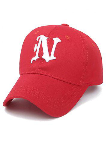 Chic Embroidery Letter N Baseball Cap RED