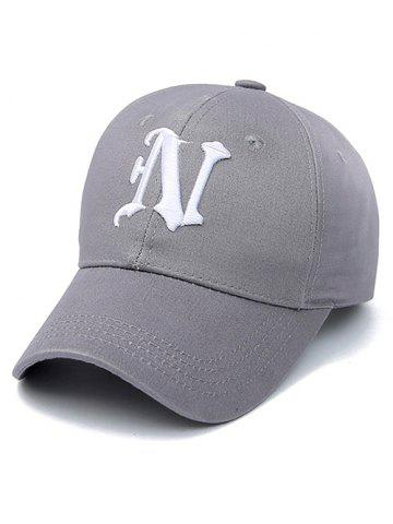 Embroidery Letter N Baseball Cap - Smoky Gray - One Size